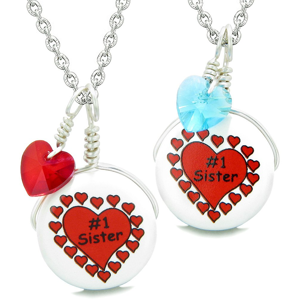 Love Couples or BFF Set Cute Ceramic #1 Sister Lucky Charm Blue Red Hearts Amulet Pendant Necklaces