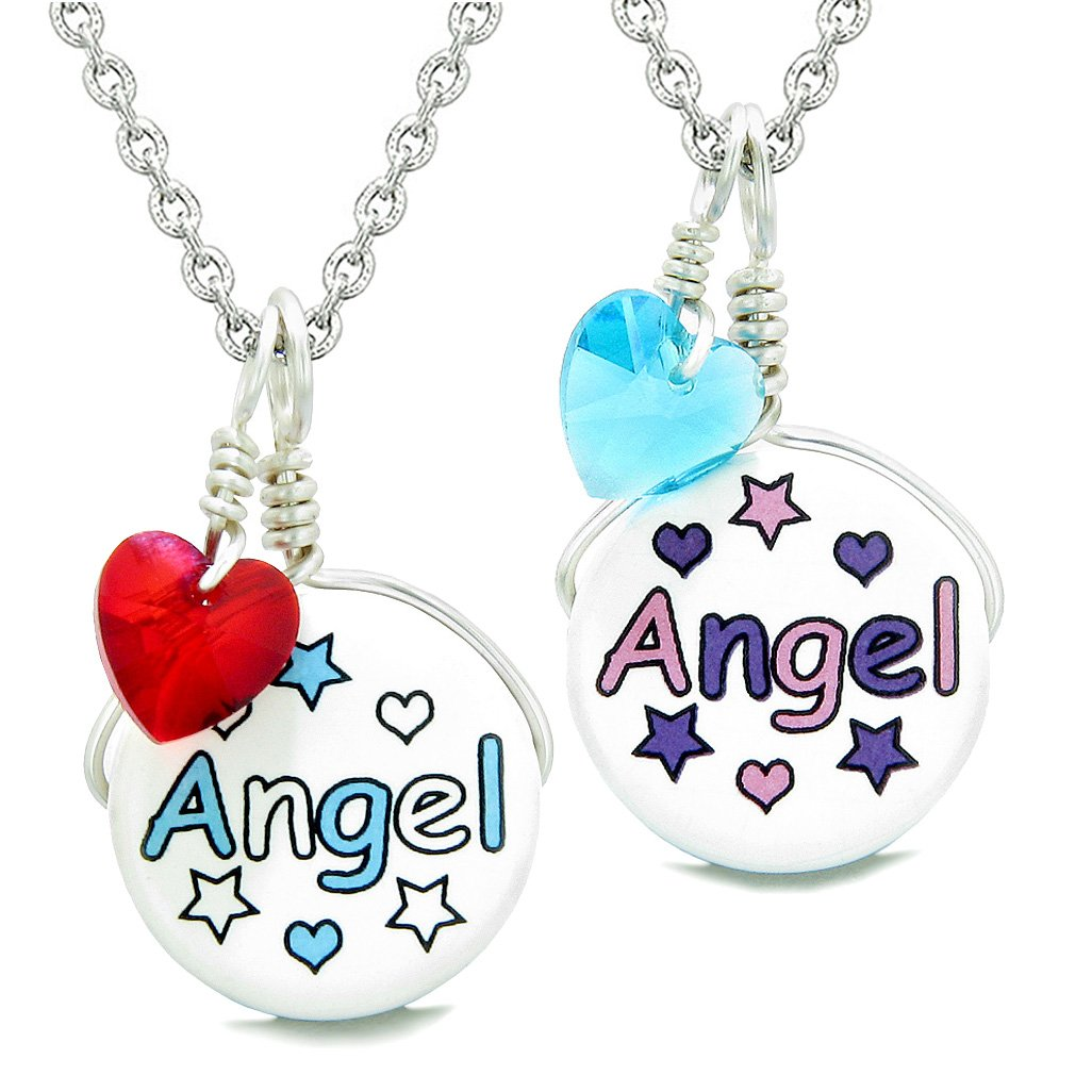Love Couples or BFF Set Cute Ceramic Aqua Pink Angel Charms Blue Red Hearts Amulet Pendant Necklaces