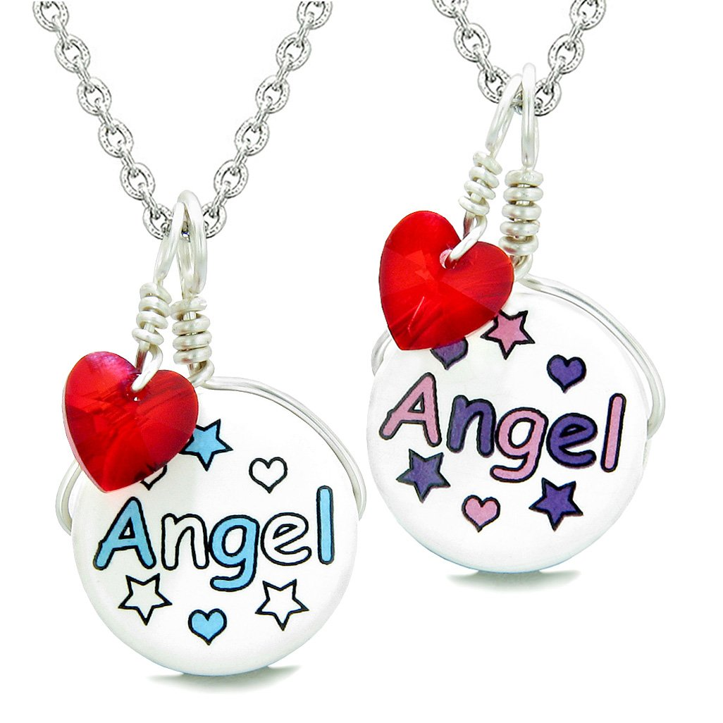 Love Couples or BFF Set Cute Ceramic Aqua Pink Angel Lucky Charms Red Hearts Amulet Pendant Necklaces