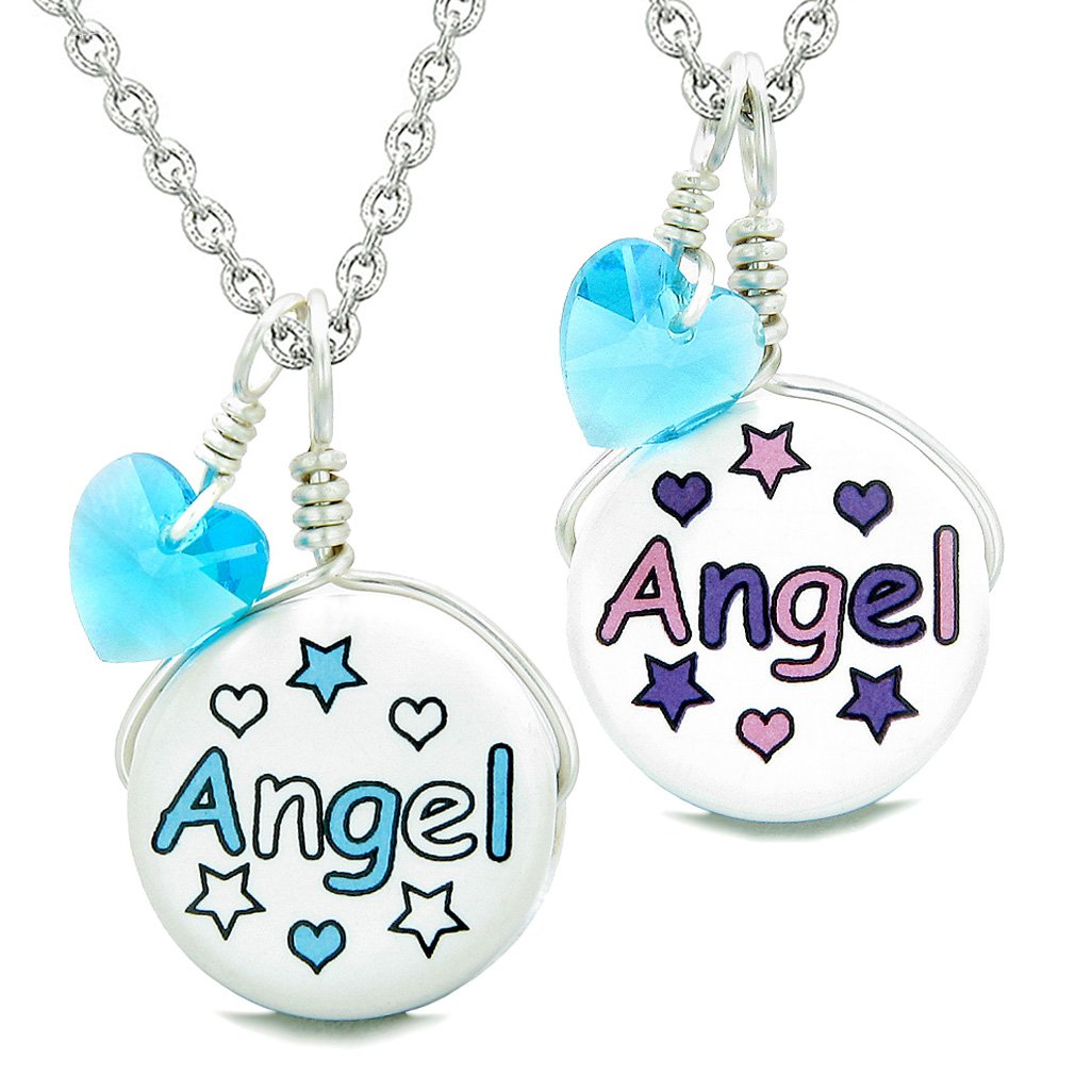 Love Couples or BFF Set Cute Ceramic Aqua Pink Angel Lucky Charms Blue Hearts Amulet Pendant Necklaces