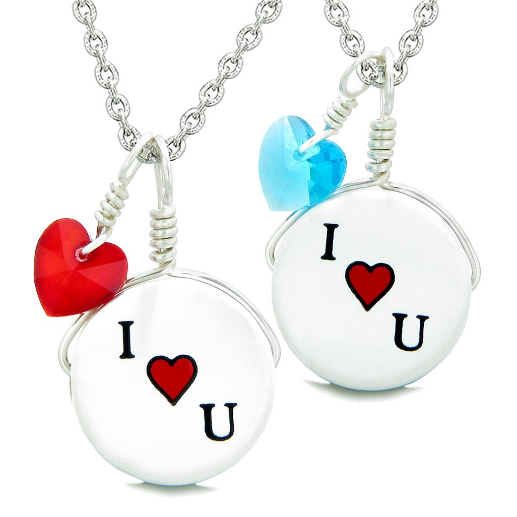Love Couples or BFF Set Cute Ceramic I Love You Lucky Charms Blue Red Hearts Amulet Pendant Necklaces