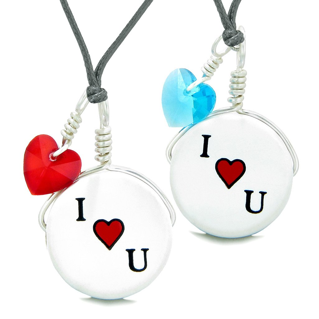 Love Couples or BFF Set Cute Ceramic I Love You Lucky Charms Blue Red Hearts Amulet Adjustable Necklaces