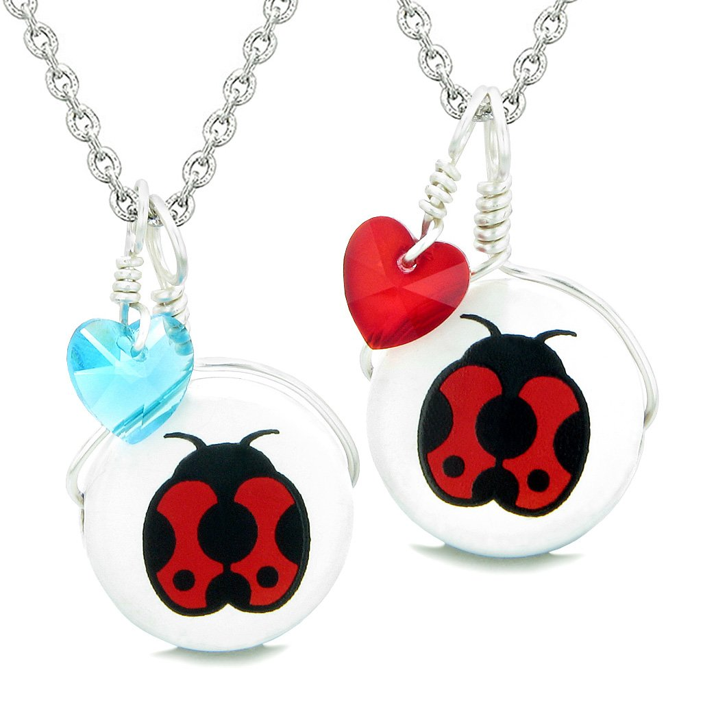 Love Couples or BFF Set Cute Ceramic Lady Bug Lucky Charms Blue Red Hearts Amulet Pendant Necklaces