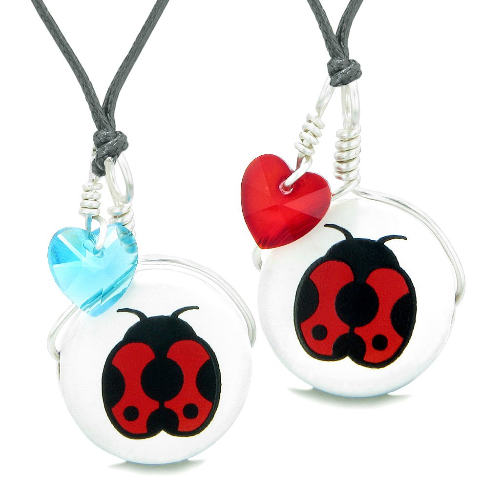 Love Couples or BFF Set Cute Ceramic Lady Bug Lucky Charms Blue Red Hearts Amulet Adjustable Necklaces