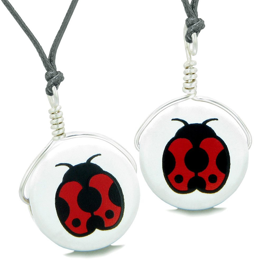 Love Couples or Best Friends Set Cute Ceramic Adorable Lady Bug Lucky Charm Amulet Adjustable Necklaces