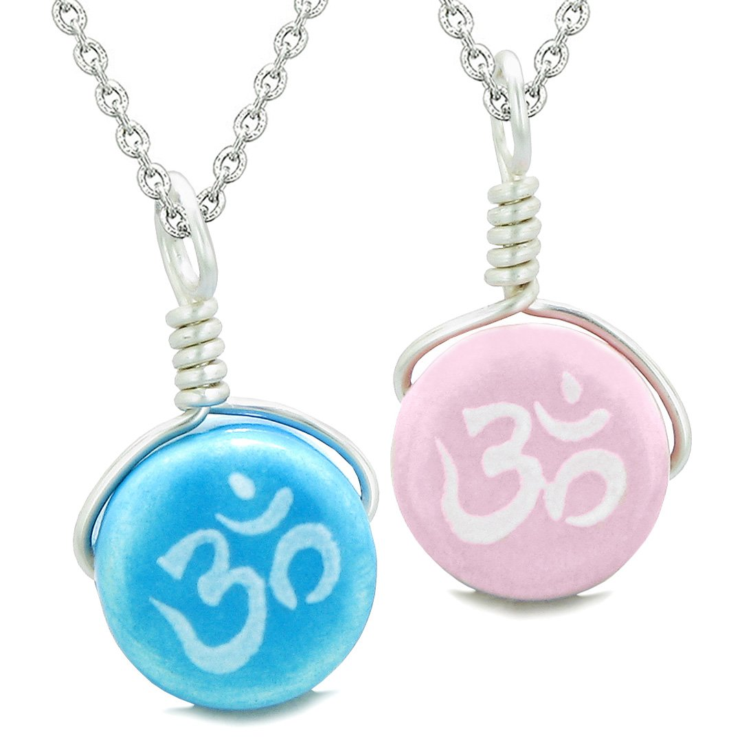Love Couples or Best Friends Set Cute Ceramic Tibetan Aqua Pink OM Lucky Charm Amulet Pendant Necklaces