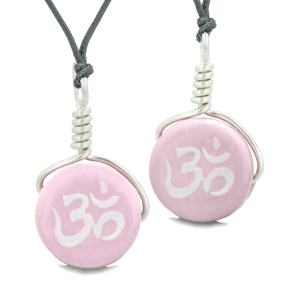 Love Couples or Best Friends Set Cute Ceramic Tibetan Pink OM Ohm Lucky Charm Amulet Adjustable Necklaces