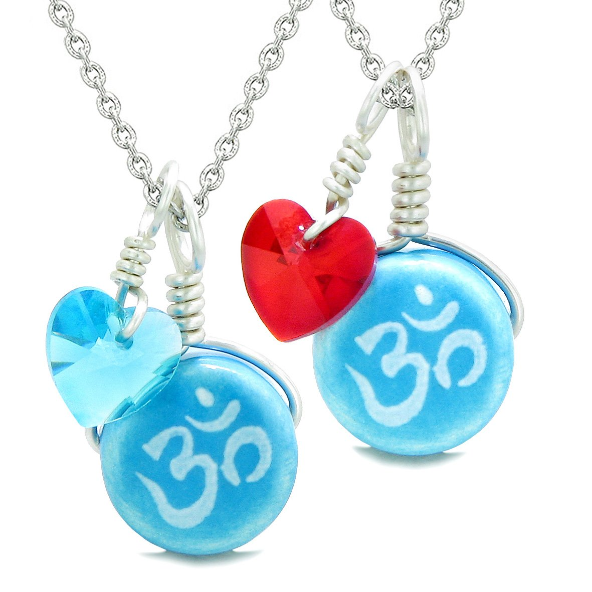 Love Couples or BFF Set Cute Ceramic Tibetan Aqua OM Charms Blue Red Hearts Amulet Pendant Necklaces