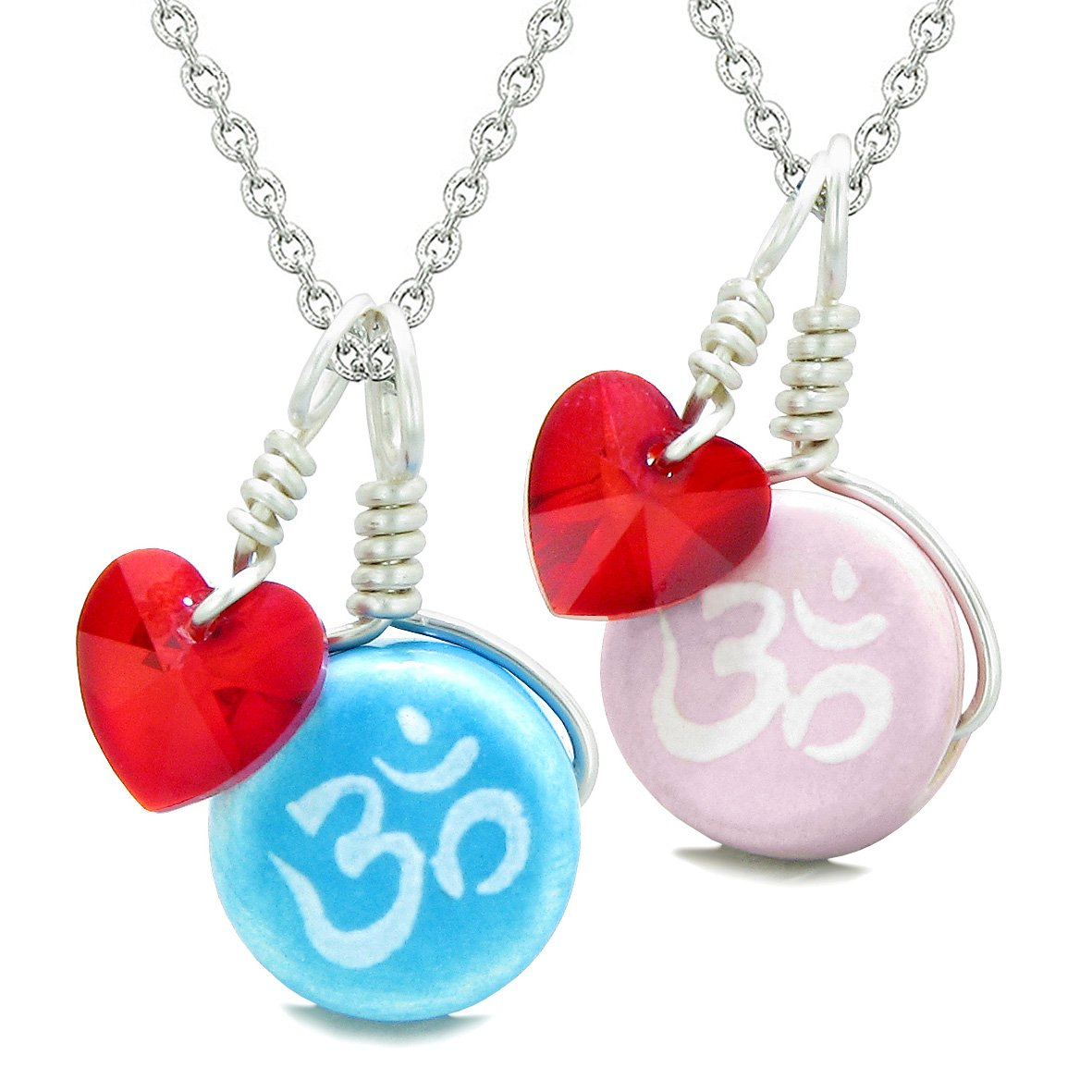 Love Couples or BFF Set Cute Ceramic Tibetan Aqua Pink OM Blue Charm Red Hearts Amulet Pendant Necklaces