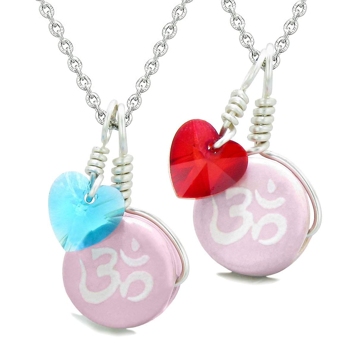 Love Couples or BFF Set Cute Ceramic Tibetan Pink OM Charms Blue Red Hearts Amulet Pendant Necklaces