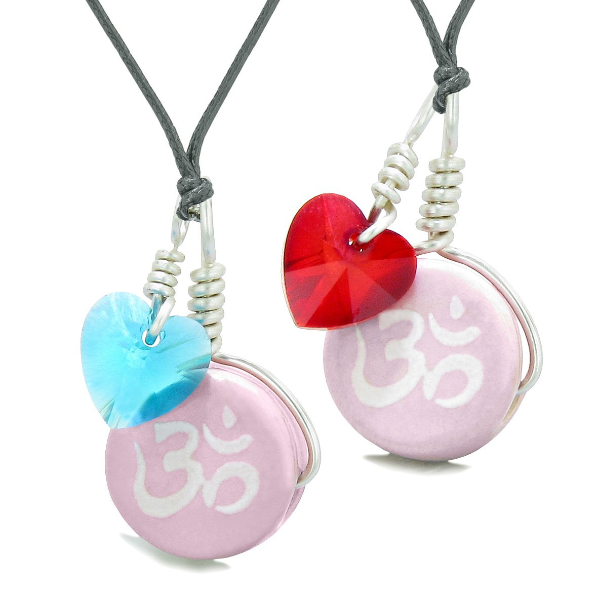 Love Couples or BFF Set Cute Ceramic Tibetan Pink OM Charms Blue Red Hearts Amulet Adjustable Necklaces