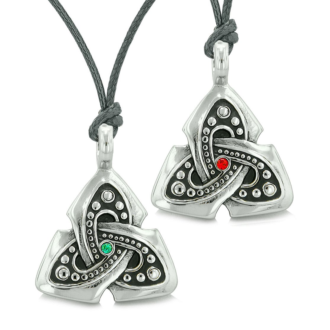 Ancient Viking Celtic Triquetra Knot Amulets Love Couples Best Friends Set Green Red Necklaces