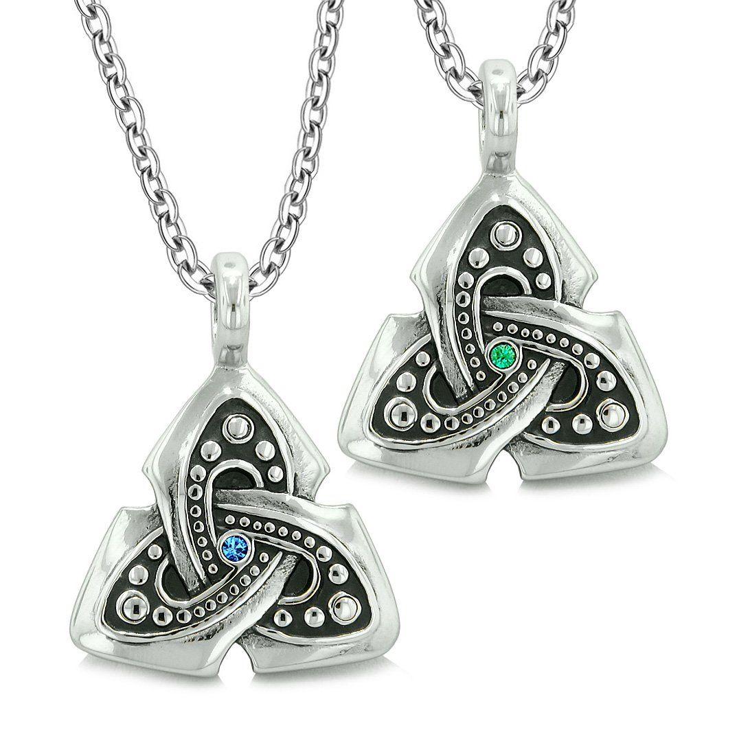 Ancient Viking Celtic Triquetra Knot Amulets Love Couples or Best Friends Set Green Blue Necklaces