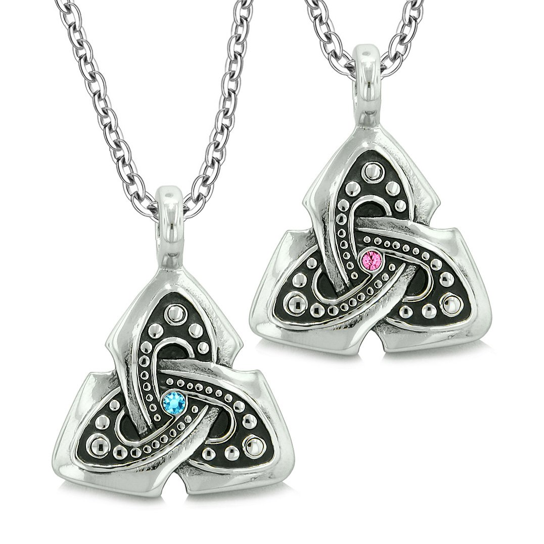 Ancient Viking Celtic Triquetra Knot Amulets Love Couples or Best Friends Set Pink Blue Necklaces
