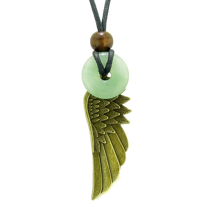 Guardian Angel Wing Protection Magic Powers Amulet Lucky Donut Charm Green Quartz Pendant Necklace