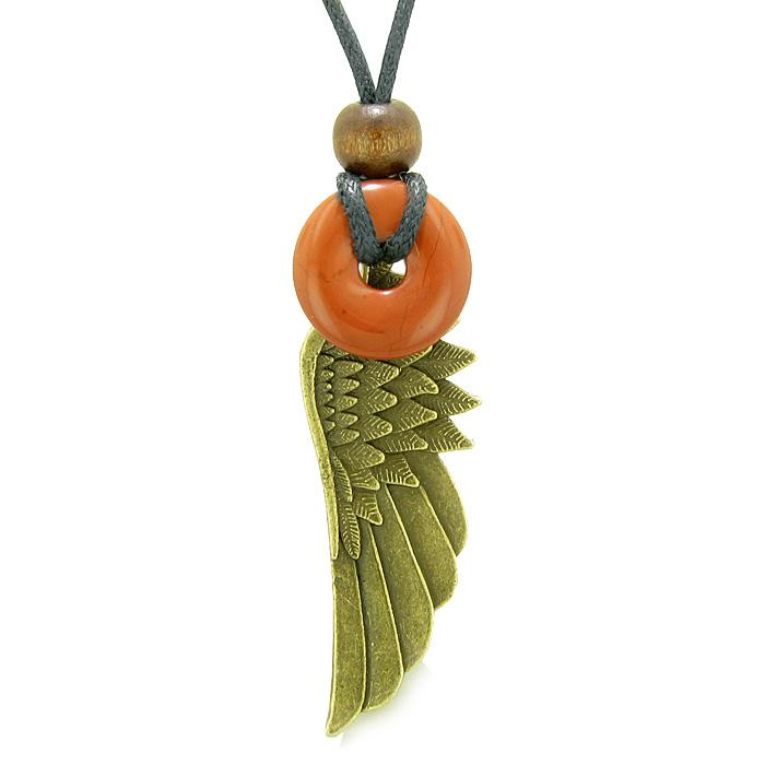 Guardian Angel Wing Protection Magic Powers Amulet Lucky Donut Charm Red Jasper Pendant Necklace