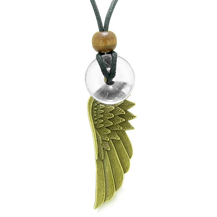 Guardian Angel Wing Protection Magic Amulet Lucky Donut Charm Crystal Quartz Pendant Necklace
