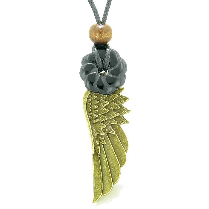 Guardian Angel Wing Protection Amulet Lucky Celtic Flower Donut Charm Black Agate Pendant Necklace