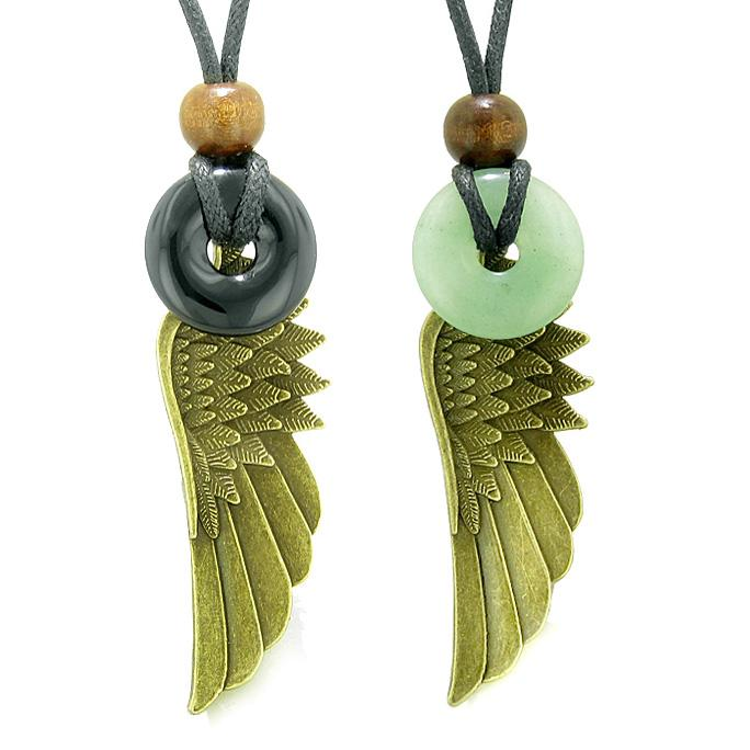 Guardian Angel Wings Magic Amulets Love Couples Best Friends Agate Green Quartz Donut Necklaces