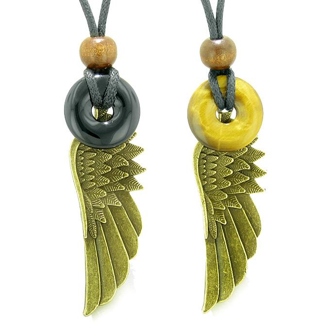 Guardian Angel Wings Magic Amulets Love Couples or Best Friends Set Agate Tiger Eye Donut Necklaces