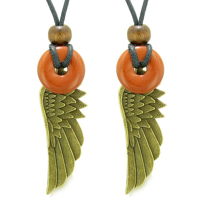Guardian Angel Wings Magic Protect Amulets Love Couples Best Friends Red Jasper Donut Necklaces