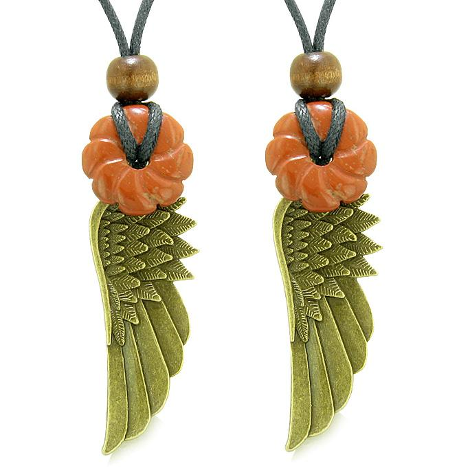 Guardian Angel Wings Amulets Love Couples Best Friends Red Jasper Celtic Flower Donut Necklaces