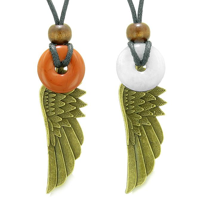 Guardian Angel Wings Magic Amulets Love Couples Best Friends Jasper White Quartz Donut Necklaces