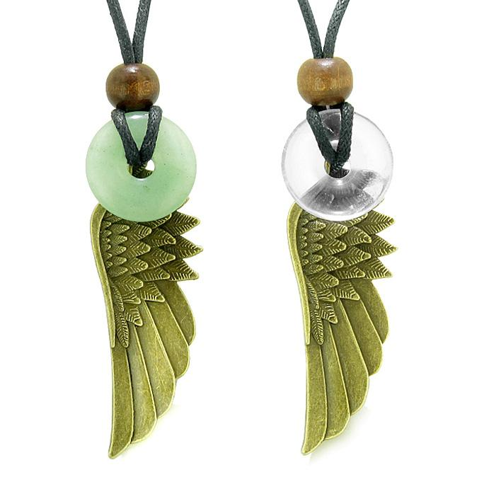 Guardian Angel Wings Magic Amulets Love Couples Best Friends Green Crystal Quartz Donut Necklaces