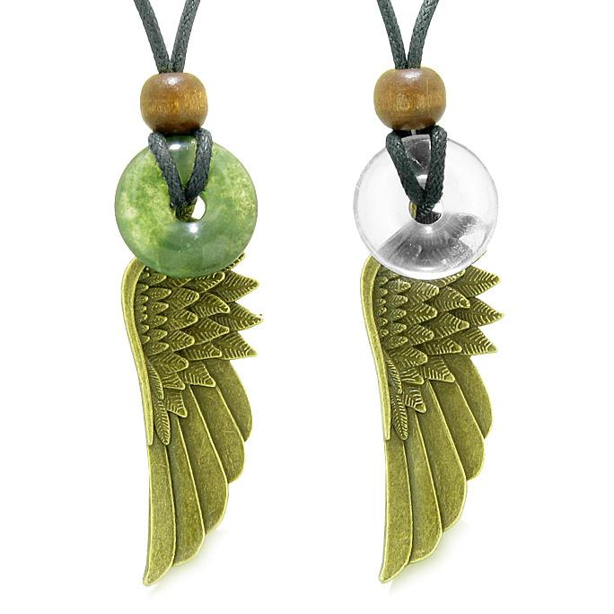 Guardian Angel Wings Magic Amulets Couples Best Friends Moss Agate Crystal Quartz Donut Necklaces