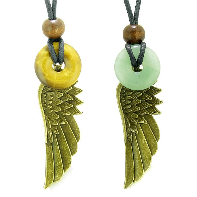 Guardian Angel Wings Magic Amulets Love Couple Best Friends Tiger Eye Green Quartz Donut Necklaces
