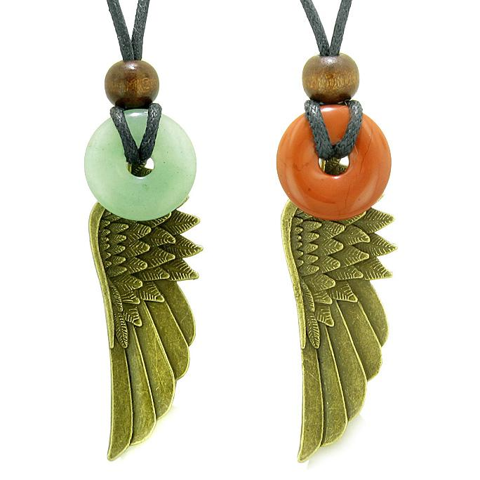 Guardian Angel Wings Magic Amulets Love Couples Best Friends Jasper Green Quartz Donut Necklaces