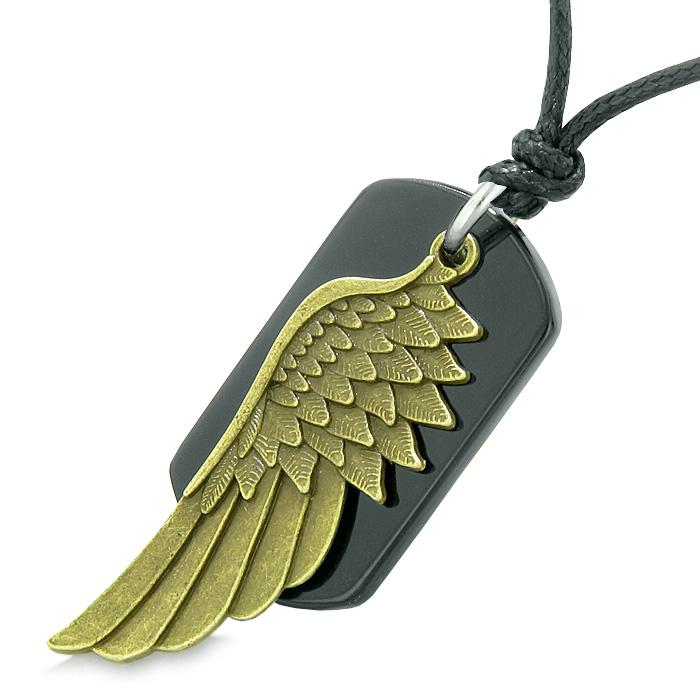 Amulet Guardian Angel Wing Magical Protection Powers Black Agate Tag Pendant Adjustable Necklace