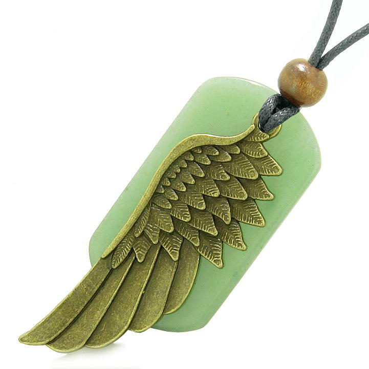 Amulet Guardian Angel Wing Protection Magical Powers Green Quartz Tag Pendant Adjustable Necklace