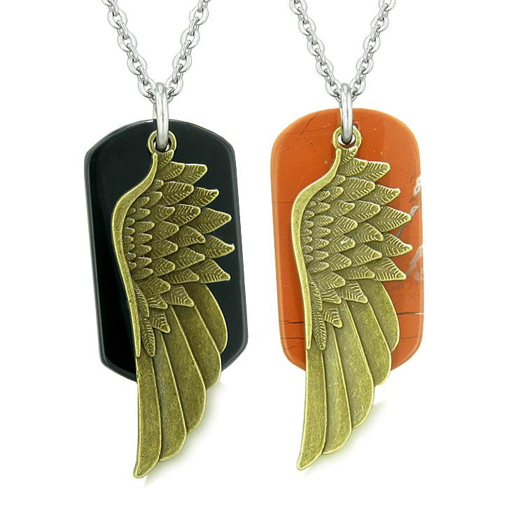 Guardian Angel Wings Protection Magic Powers Love Couples Best Friends Agate Red Jasper Necklaces