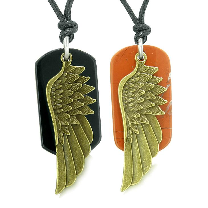 Guardian Angel Wings Protection Powers Love Couples Best Friends Agate Jasper Adjustable Necklaces
