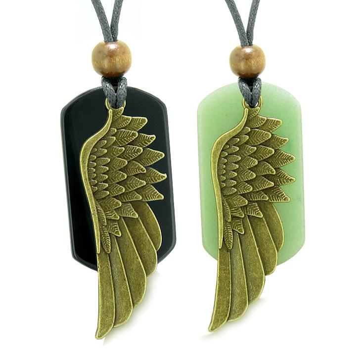Guardian Angel Wings Protect Powers Love Couples Best Friends Green Quartz Agate Necklaces