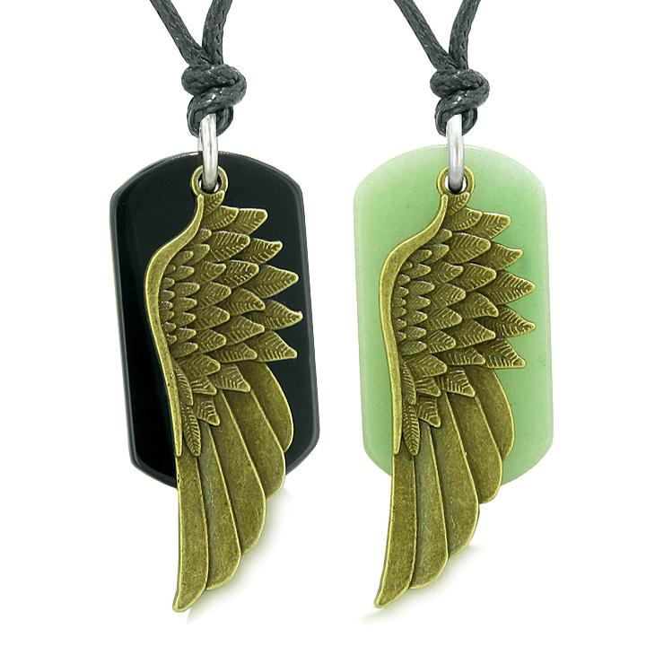 Guardian Angel Wings Protect Powers Love Couples Best Friends Agate Green Quartz Necklaces
