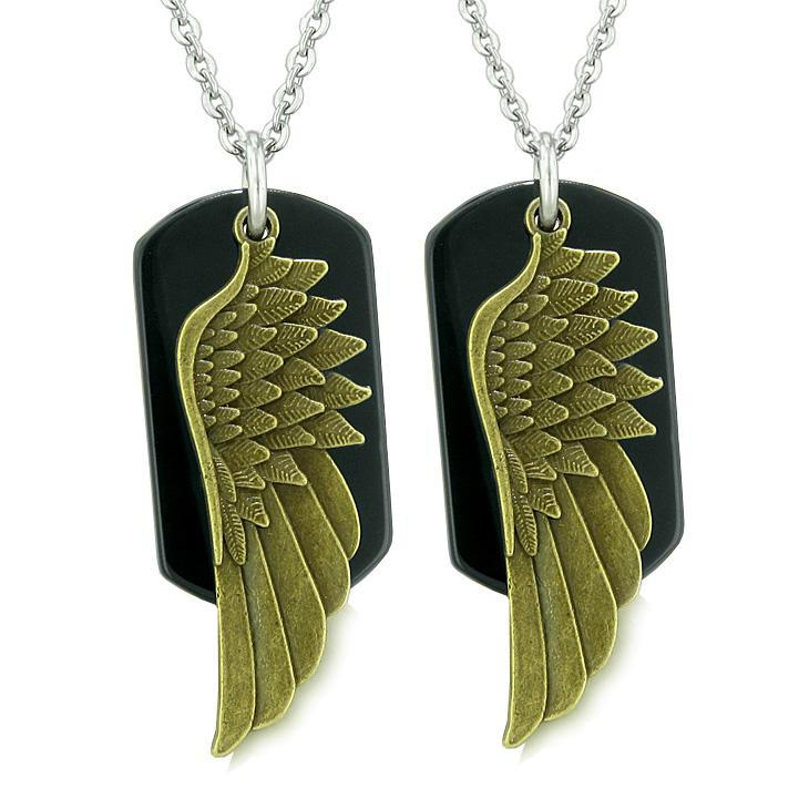Guardian Angel Wings Protection Magic Powers Love Couples or Best Friends Set Black Agate Necklaces