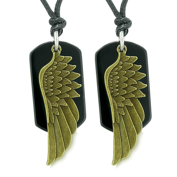 Guardian Angel Wings Protection Powers Best Friends or Love Couples Black Agate Necklaces