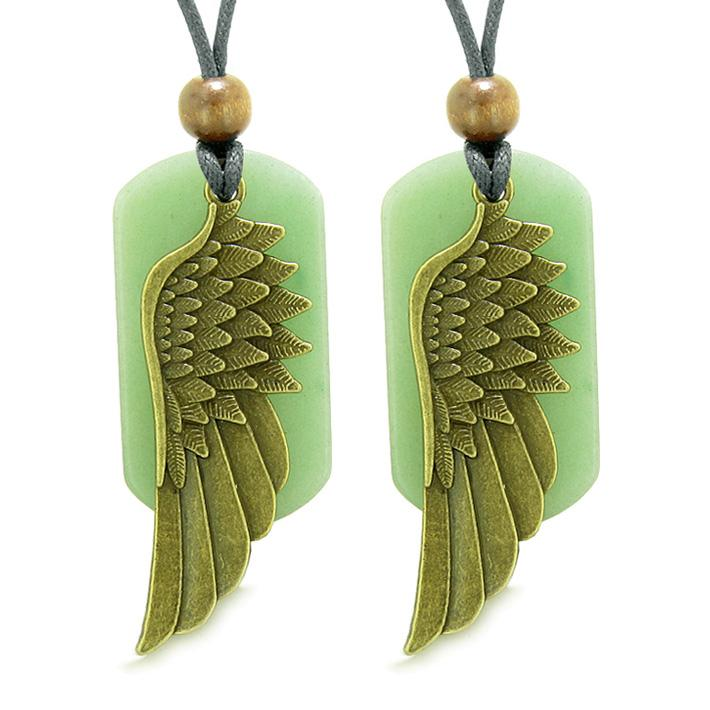 Guardian Angel Wings Protection Powers Best Friends or Love Couples Green Quartz Necklaces