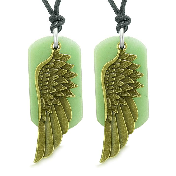 Guardian Angel Wings Protection Powers Love Couples Best Friends Green Quartz Adjustable Necklaces