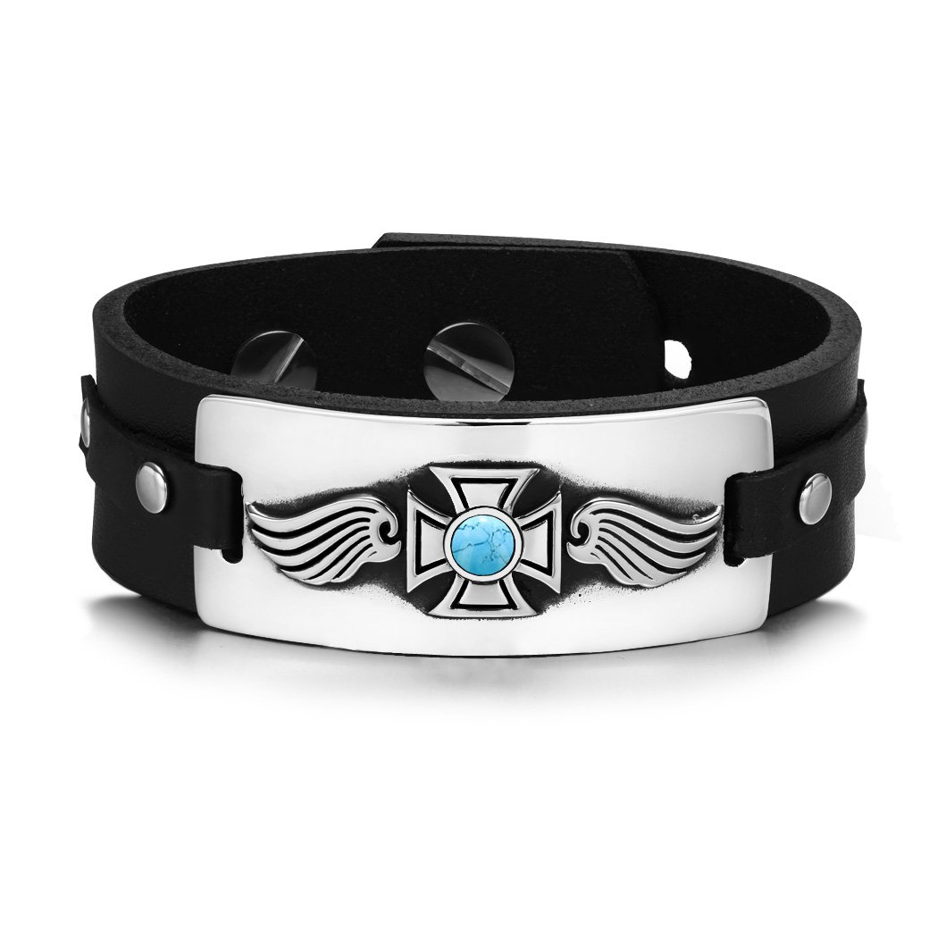 Guardian Angel Wings Viking Celtic Cross Magic Amulet Simulated Turquoise Leather Bracelet