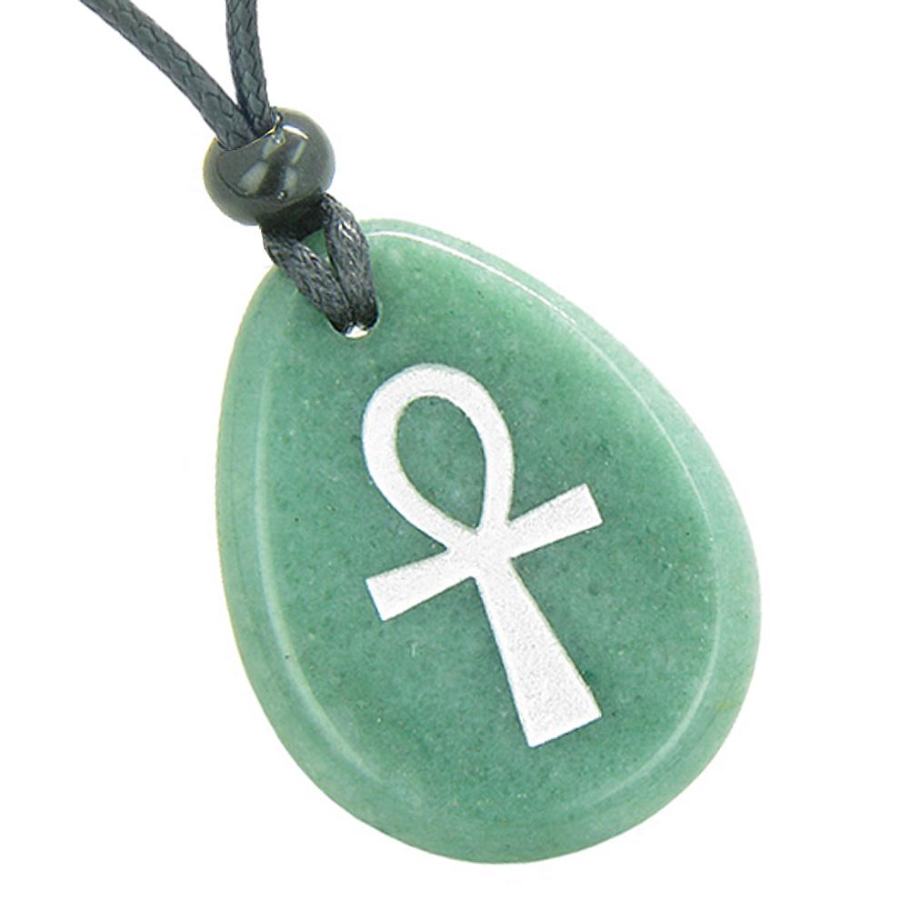 Ankh Powers of Life Good Luck and Protection Egyptian Ancient Amulet Green Quartz Pendant Necklace