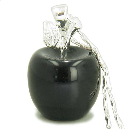 Apple Pendant In Black Onyx Gemstone Silver 18