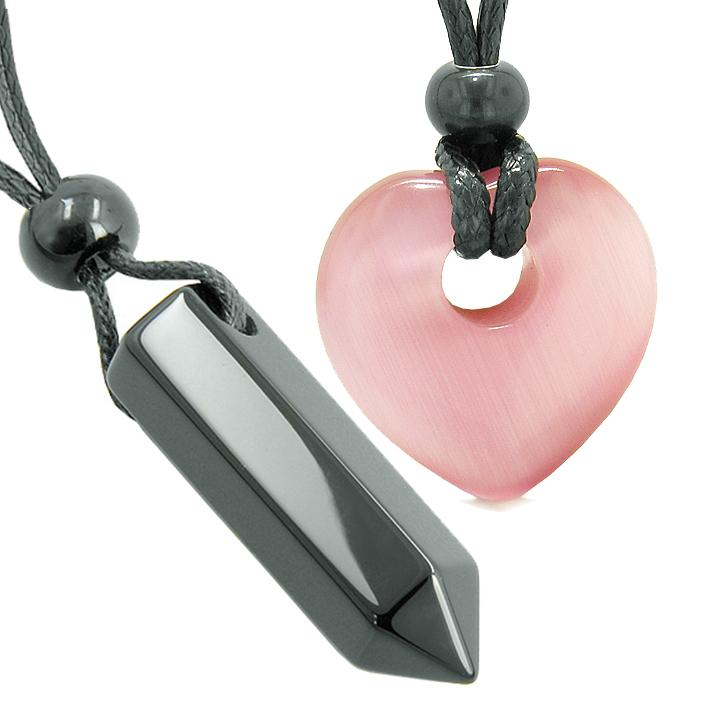 Yin Yang Crystal Point Heart Donut Love Couple Agate Pink Simulated Cats Eye Amulets Necklaces