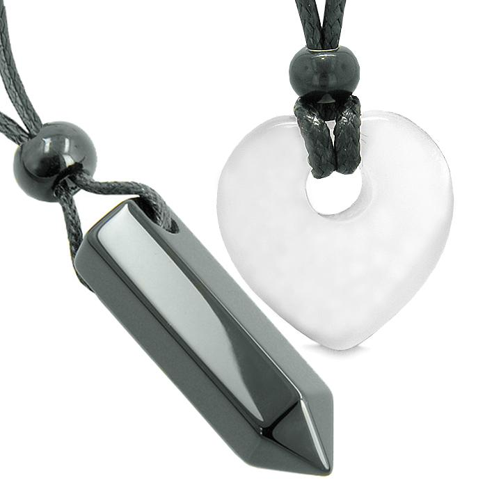 Yin Yang Crystal Point Heart Donut Love Couple Agate White Simulated Cats Eye Amulets Necklaces