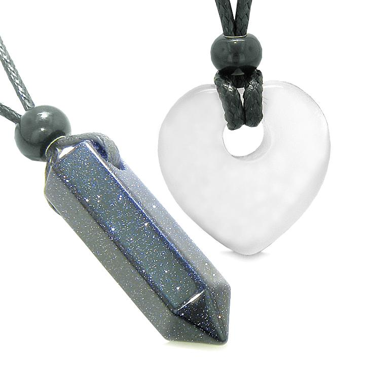 Yin Yang Crystal Point Heart Donut Love Couple Goldstone White Simulated Cats Eye Amulet Necklaces