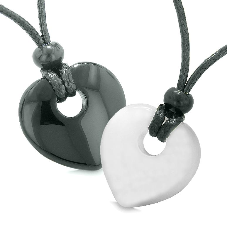 Yin Yang Heart Donuts Love Couple Best Friends Agate White Simulated Cats Eye Amulet Necklaces