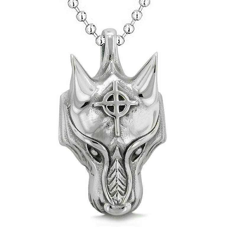 Courage Wise Wolf Celtic Viking Cross Energy Charm Amulet Magical Brave Powers Pendant Necklace