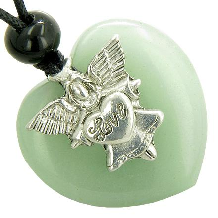 Guardian Spirit Angel Love Heart Money Amulet Aventurine Gemstone Pendant Necklace